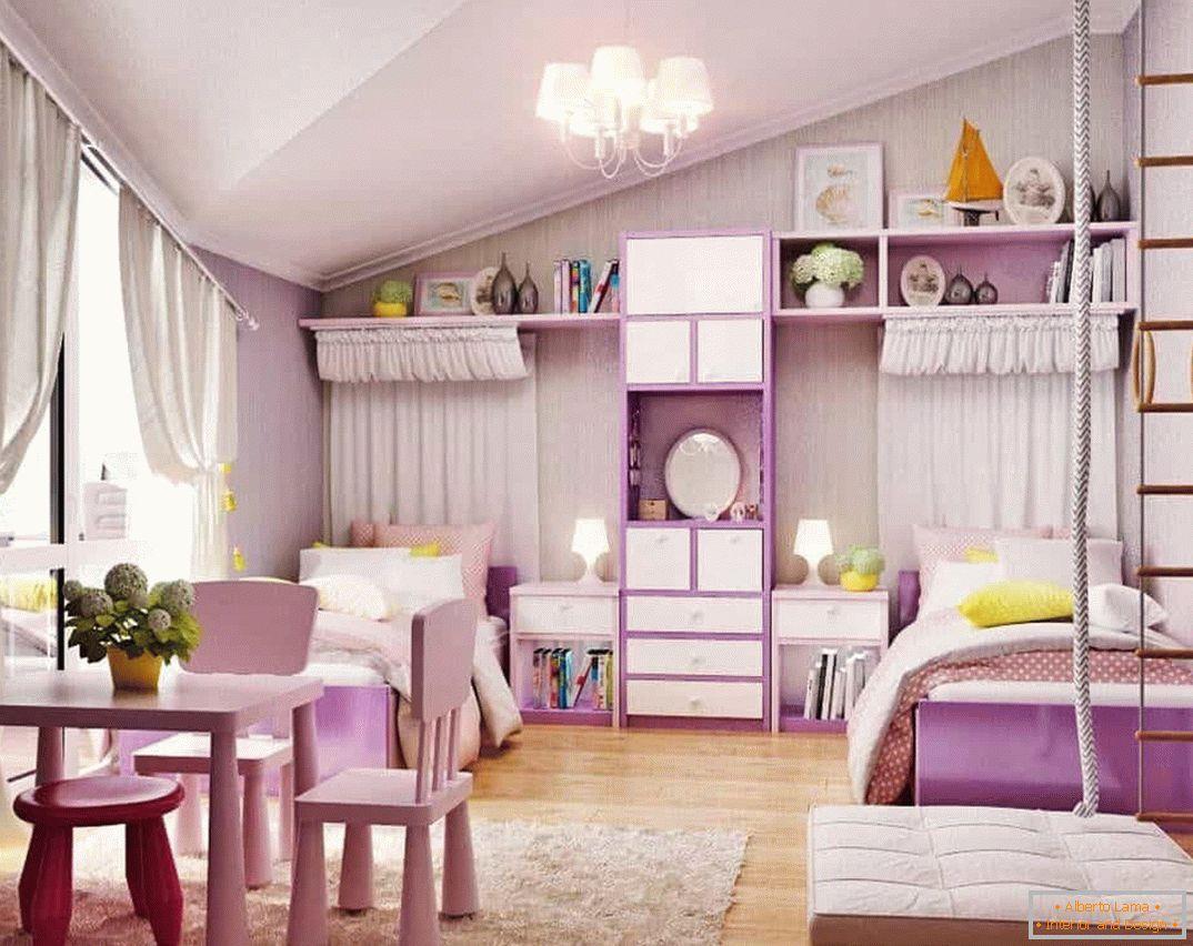 Design d\'intérieur d\'une chambre d\'enfants pour deux filles