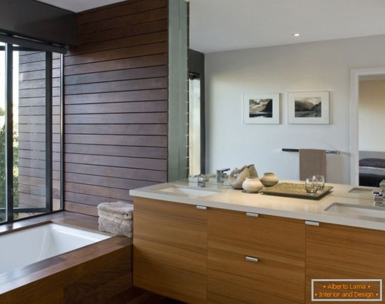 decoration-ideas-interior-adorable-ideas-in-decorating-salle de bain design-with-cherry-wood-bath-vanity-and-under-mount-sink-with-chrome-faucet-also-rectangular-soaking-bathtub-in-parquet-floori