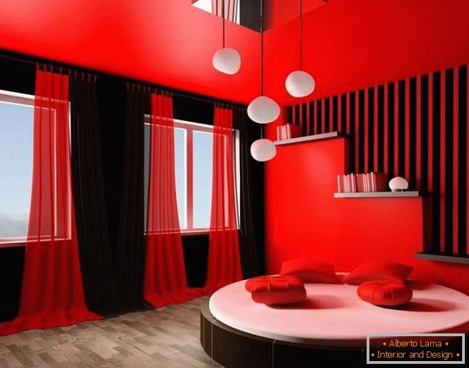 Conception d\'une chambre rouge: options de design élégant