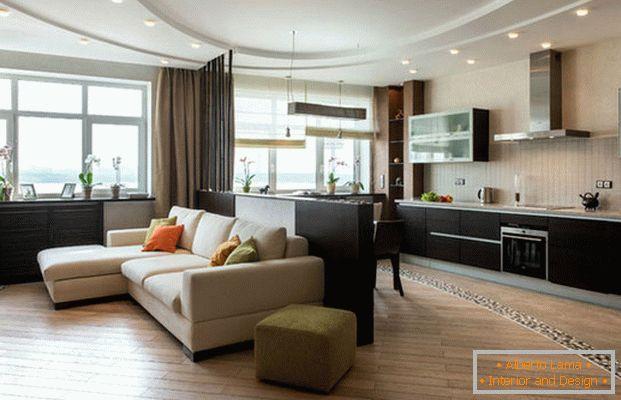 Cuisine-salon dans un style moderne - 5 projets de design